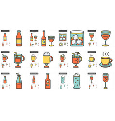 Drinks line icon set vector