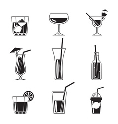 Assortment of black cocktail icons vector