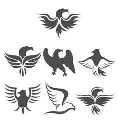 Set icon of eagles symbol isolated on white vector