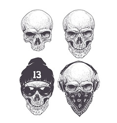 Dotwork skulls set vector