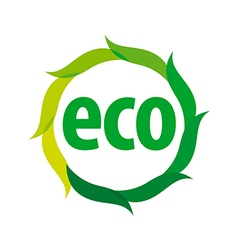 Round eco logo with green leaves vector