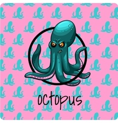Green octopus on a pink background vector