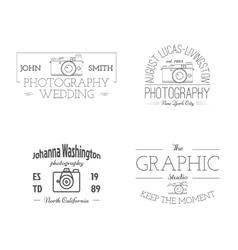Vintage photography studio badges labels vector