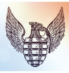 Hand drawn design of a winged manual grenade vector