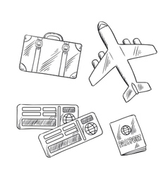 Travel icons with plane bag tickets and passport vector