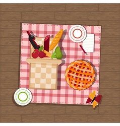Picnic basket on wooden background vector