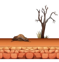 Background design with rock and tree vector