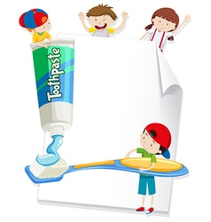 Paper design with children and toothbrush vector