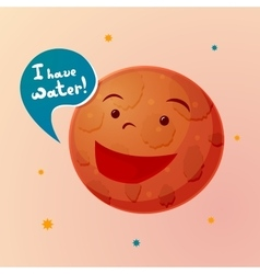 Planet mars with cartoon face vector