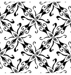 Seamless black pattern on white background vector