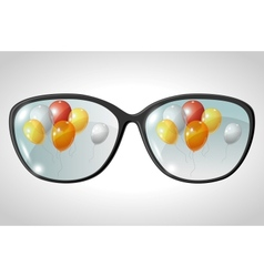 Balloons glasses reflection vector