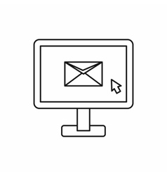 Monitor with email sign icon outline style vector
