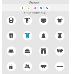 Baby clothes simply icons vector image vector image