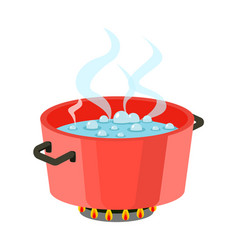 Boiling water in pan red cooking pot on stove with vector
