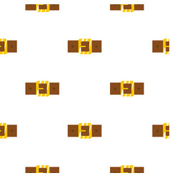 Brown leather belt with gold square buckle pattern vector