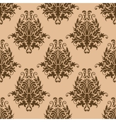 Brown pretty damask style seamless pattern vector image vector image