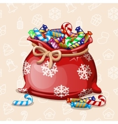 cartoon full Chiristmas bag of with candy vector image vector image