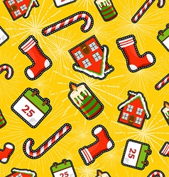 Christmas elements patch icon pattern background vector