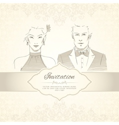 Classical wedding invitation card vector image