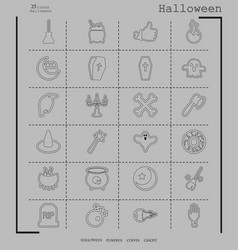 Collection of 24 halloween icons in thin line vector