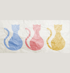 color cats paper vector image