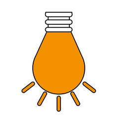 Color contour cartoon light bulb on flat icon vector