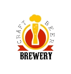 Craft beer brewery logo design template vector