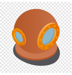 Diving suit helmet isometric icon vector