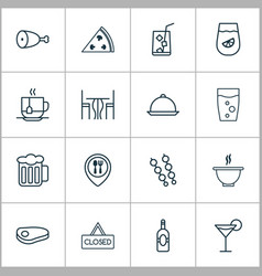 Eating icons set collection of lemonade soda vector