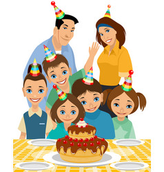 family the childs birthday vector image