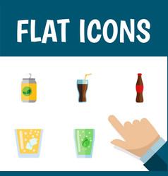 Flat icon beverage set of lemonade cup fizzy vector