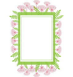 Frame rectangular with abstract plants floral vector