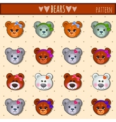 Great heads set Teddy bears of different colors vector image vector image