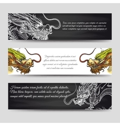 Horizontal banners set with chinese dragons vector