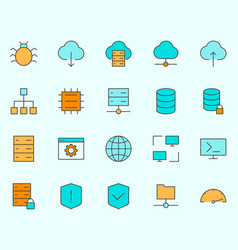 hosting line icons set simple minimal pictograms vector image