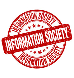 Information society red grunge stamp vector