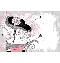 Lady in hat with flower - horizontal vector image