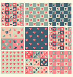 love seamless pattern set vector image vector image