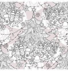 Merry christmas zentangle fir tree doodle vector
