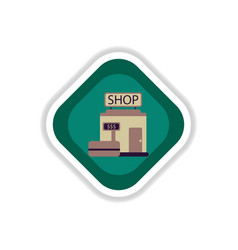 paper sticker on white background shop vector image vector image