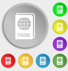 Passport icon sign symbol on eight flat buttons vector