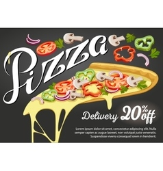 Pizza slice for advertising design of vector