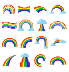 rainbow icon cartoon flat set vector image vector image