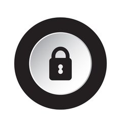 Round black and white button - closed padlock icon vector
