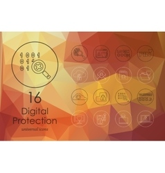 Set of digital protection icons vector image vector image