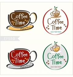 Set of hand drawn style coffee badge label vector