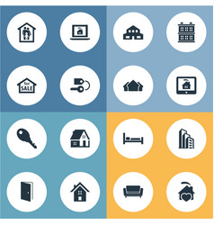Set of simple property icons elements structure vector