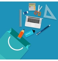 Shopping school education student icon stationary vector