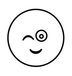 Silhouette emoticon face winking expression vector