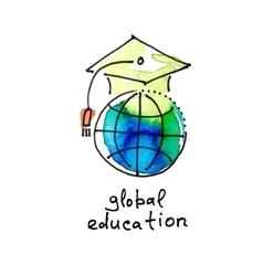 Sketch watercolor icon of global education vector